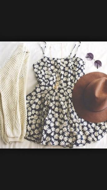 dress floral daisy dress blue dress cardigan marguerites black summer summer dress