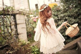 dress cute dress cute lace pretty flower crown flowers ulzzang asian cream white dress