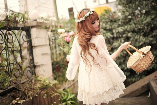 rmzqik l 610x610 dress cute+dress cute lace pretty flower+crown flowers ulzzang asian cream white+dress