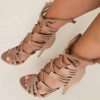 shoes lace up heels open toes