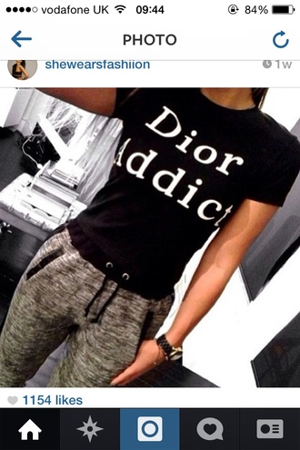 pants tracksuit trousers joggers sweatpants grey t-shirt dior top black fashion addicted swag blouse black and white dior addict shirt dior addic white