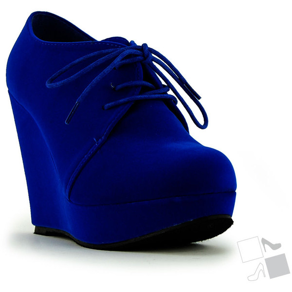 Royal blue oxford wedge