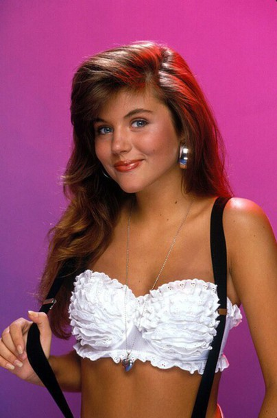 top clothes top bralette bandeau top white lace top kelly kapowski tiffani thiessen saved by the bell bra 80s style 80s style 80s style