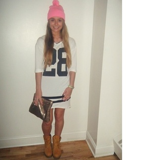 dress jersey dress pink hat clutch