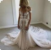 dress,off the shoulder,white dress,wedding dress,lace dress,mermaid prom dress,mermaid wedding dress