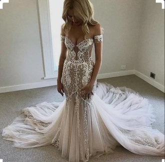dress off the shoulder white dress wedding dress lace dress mermaid prom dress mermaid wedding dress