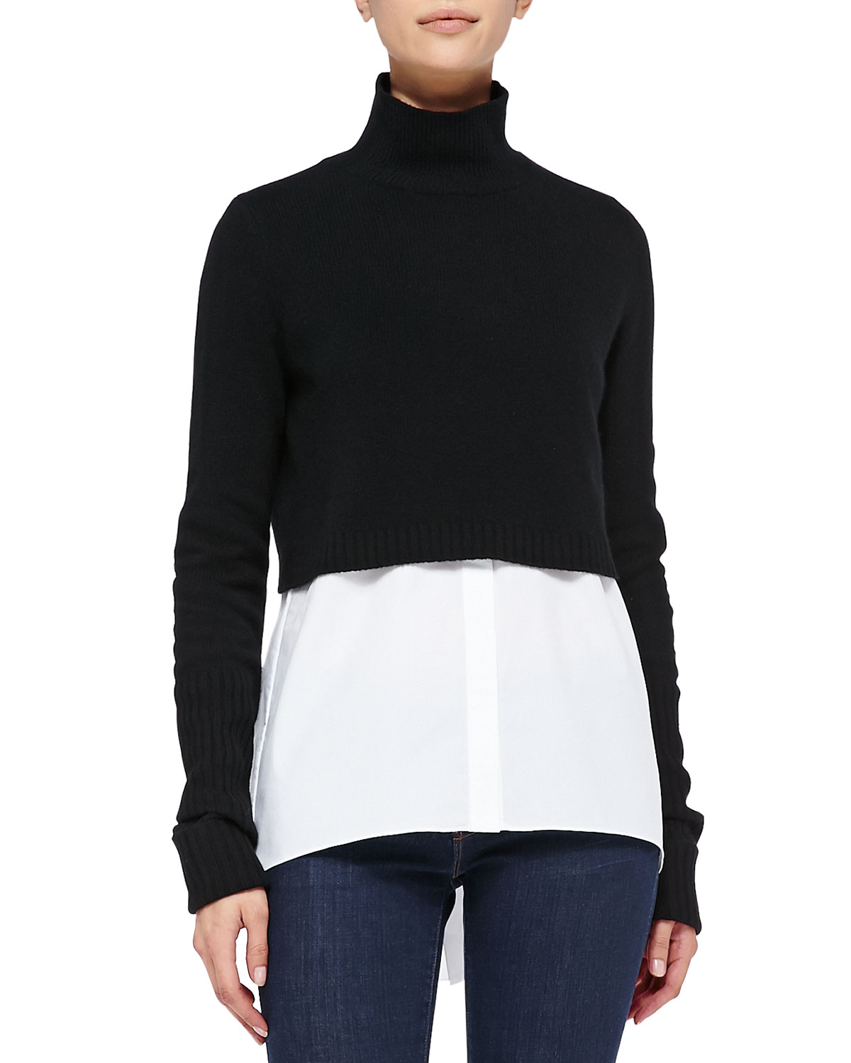 Elie Tahari Raleigh Cropped Mock-Neck Sweater