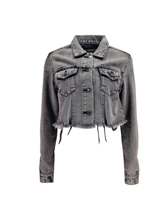 jacket cropped denim jacket frayed raw edge bohemian