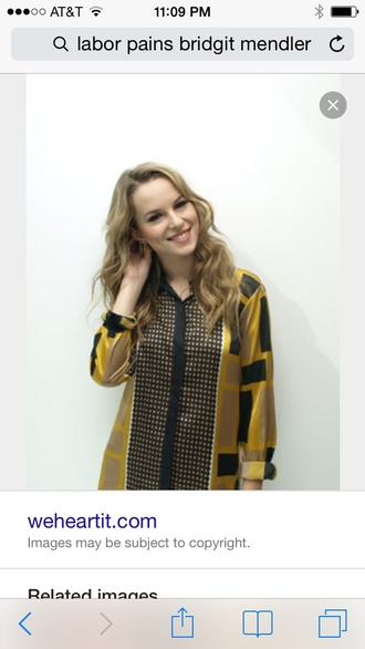 yellow black soft bridgit mendler blouse