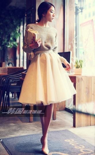 skirt tulle skirt cream gray sweater