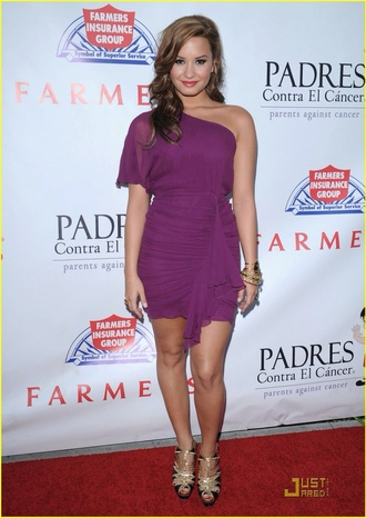 dress demi lovato purple dress short party dresses one shoulder dress formal party dresses