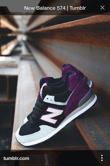 fashion clothes shoes sneakers new balance new balance sneakers new balance 574 violet purple shoes purple grey black