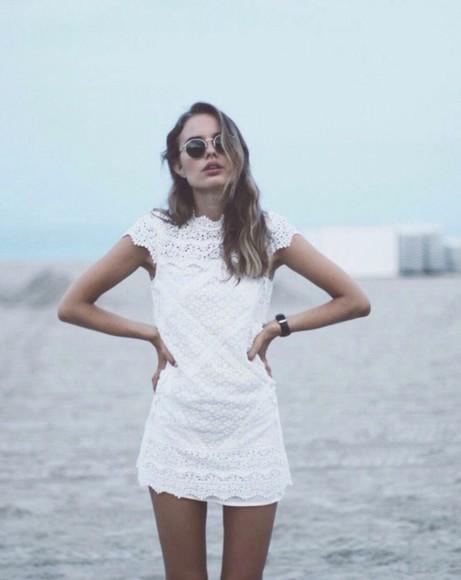 short dress short white dress hipster mini cream ivory lace dress springs vintage indie beach beach dress high collar little white dress cap sleeves dress white dress