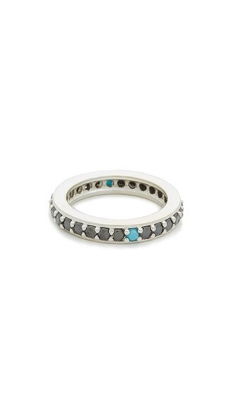 ring gold white black jewels