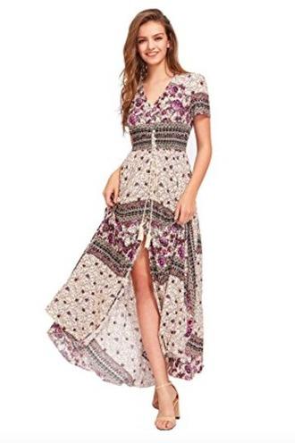 dress long dress floral cream button down maxi dress