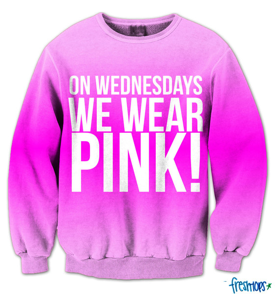 On wednesdays we wear pink fresh top crew neck