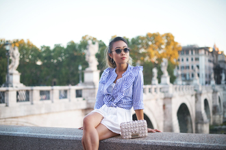 it's not her it's me blogger blouse romper bag jewels sunglasses fall outfits mini skirt striped shirt white skirt