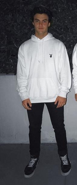 sweater white hoodie ethan dolan playboy sweater white