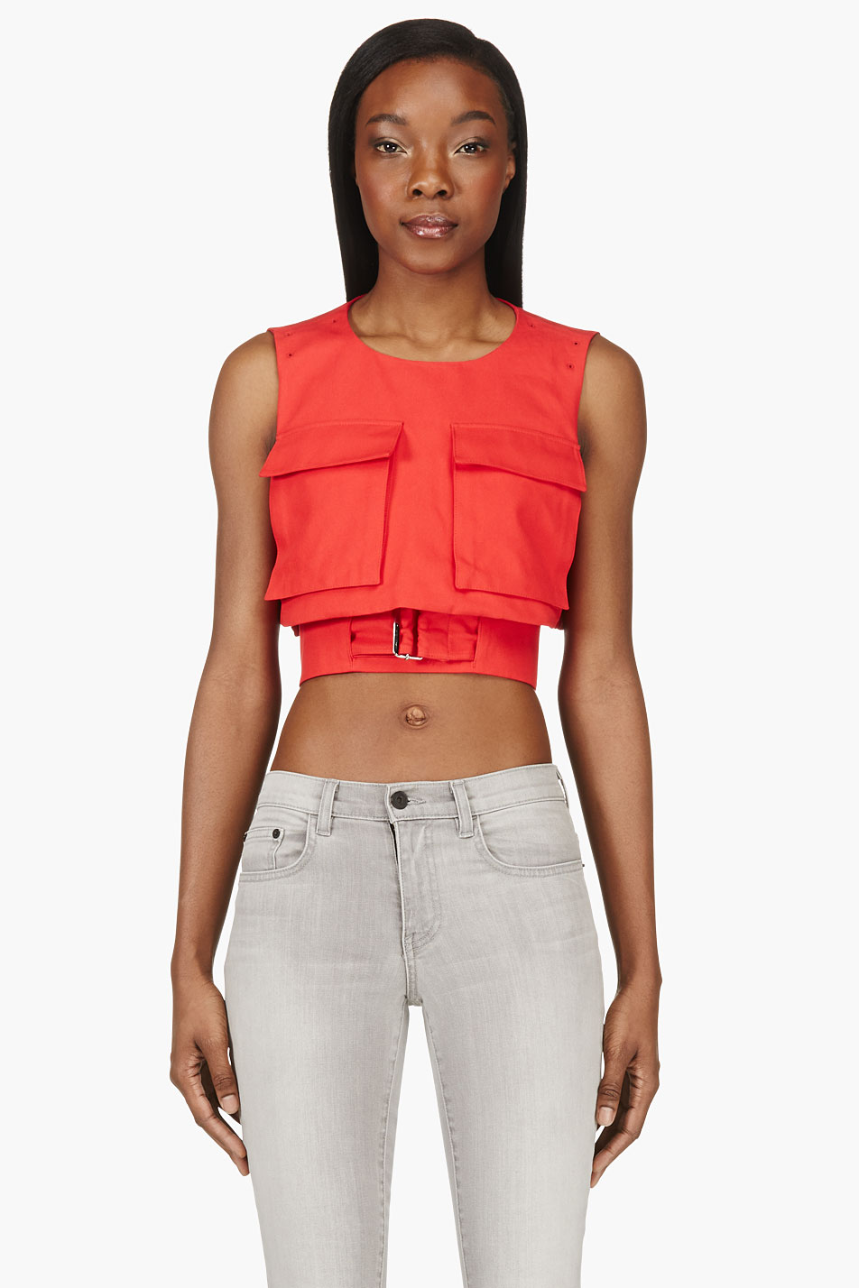 alexander mcqueen red belted crop top