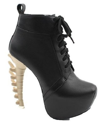 Woman's strange quirky back bone spine lace up ankle boot platform heel shoes