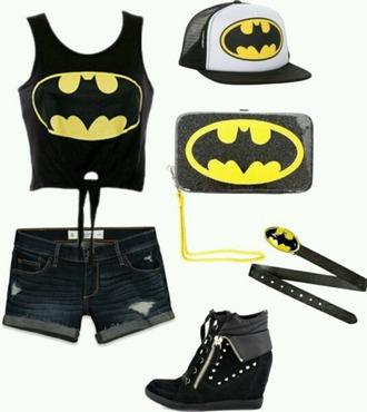 shirt batman hat batman shirts black shorts