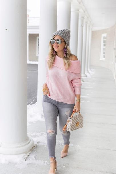 sweater sunglasses jewels jeans shoes suburban faux-pas blogger hat beanie pink sweater louis vuitton bag