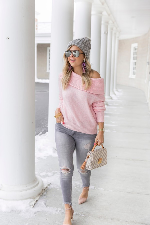 sweater sunglasses jewels jeans shoes suburban faux-pas blogger hat beanie pink sweater louis vuitton bag