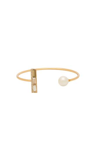 cuff pearl cuff bracelet metallic gold jewels