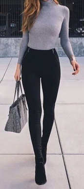 top,turtleneck,cotton,soft,long sleeves,business casual,grey,sweater,pants