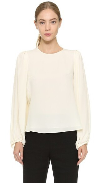 blouse long white black top