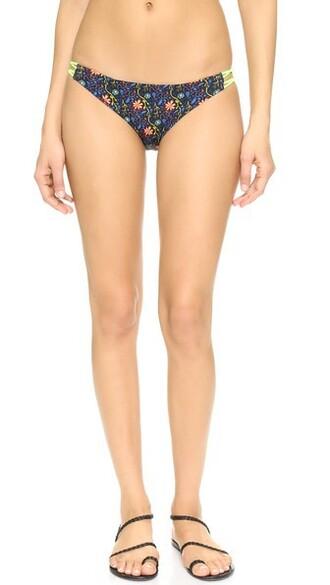 bikini bikini bottoms floral black swimwear