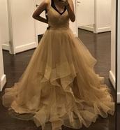 dress,tulle skirt,gold,glitter,gown,prom dress,prom gown,ball gown dress,tan,beige,cream,tulle wedding dress
