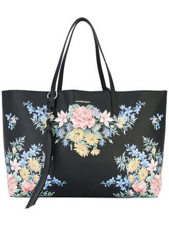 women bag tote bag floral leather blue