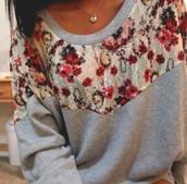 sweater,crewneck,floral,sweatshirt,red,white