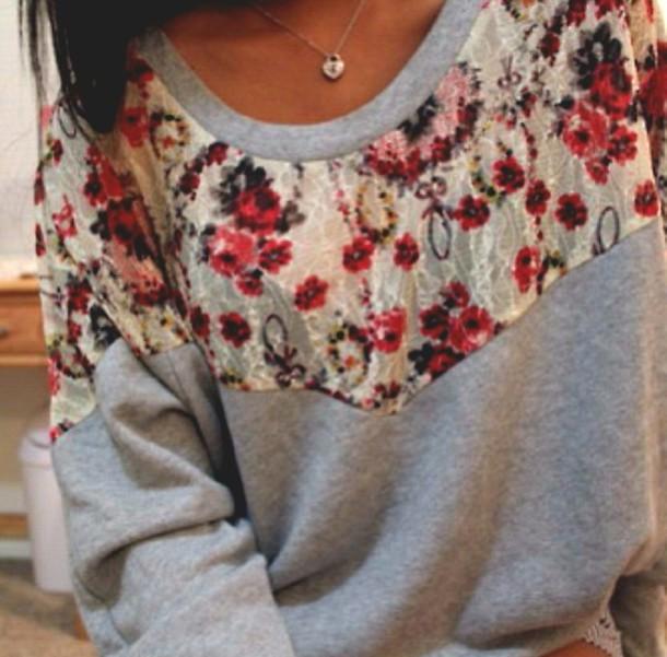 sweater crewneck floral sweatshirt red white