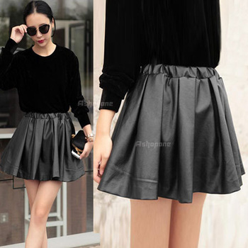 Fashion Vintage Womens Ladies Faux Leather High Waist Flared Skater Mini Skirt-in Skirts from Apparel & Accessories on Aliexpress.com