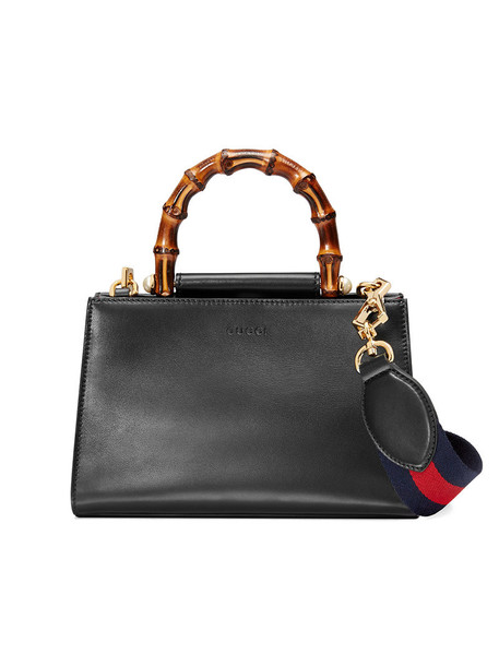 Gucci - Gucci Nymphaea leather top handle bag - women - Leather/Microfibre/bamboo - One Size, Black, Leather/Microfibre/bamboo