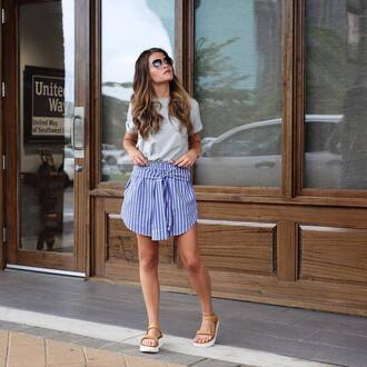 skirt tumblr mini skirt blue skirt stripes striped skirt sandals flat sandals t-shirt grey t-shirt shoes swimwear