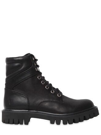 boots combat boots leather black shoes
