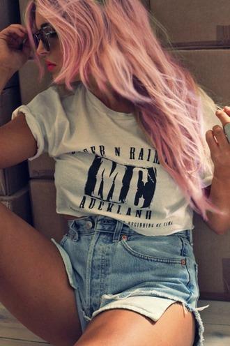 tank top pink tumblr hipster shorts denim pink hair denim shorts summer outfits pastel hair