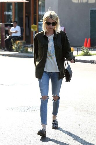 jeans jacket emma roberts top purse sunglasses streetstyle ripped jeans pocket jacket army green jacket white t-shirt t-shirt celebrity style celebrity tortoise shell tortoise shell sunglasses blue jeans shoes black shoes