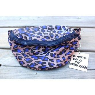 bag leopard print blue bag belt bag animal print bag