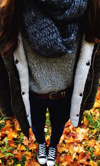 sweater jacket scarf