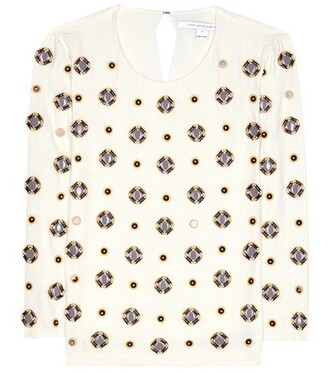 blouse embellished silk beige top