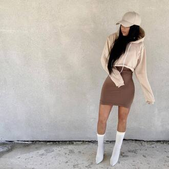 hat tumblr cap beige baseball hat top hoodie crop tops cropped hoodie boots white boots skirt mini skirt