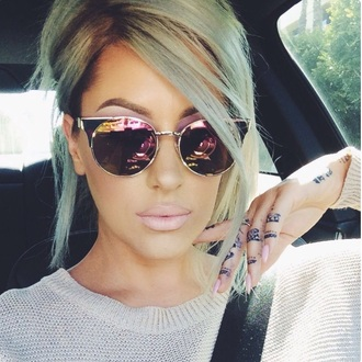 sunglasses mirrored glasses gold metallic mirrored silver style fashion glasses summer cat eye