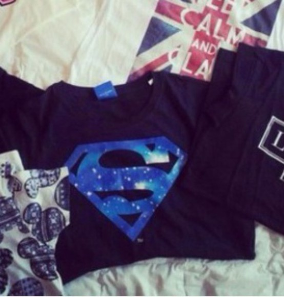 galaxy print t-shirt superman