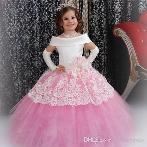 c4ff3e1adbf4 Christening Girls Dress Cheap Communion Gown Pink Tulle Ball Gown Off  Shoulder Neck Custom Made Graduation ...