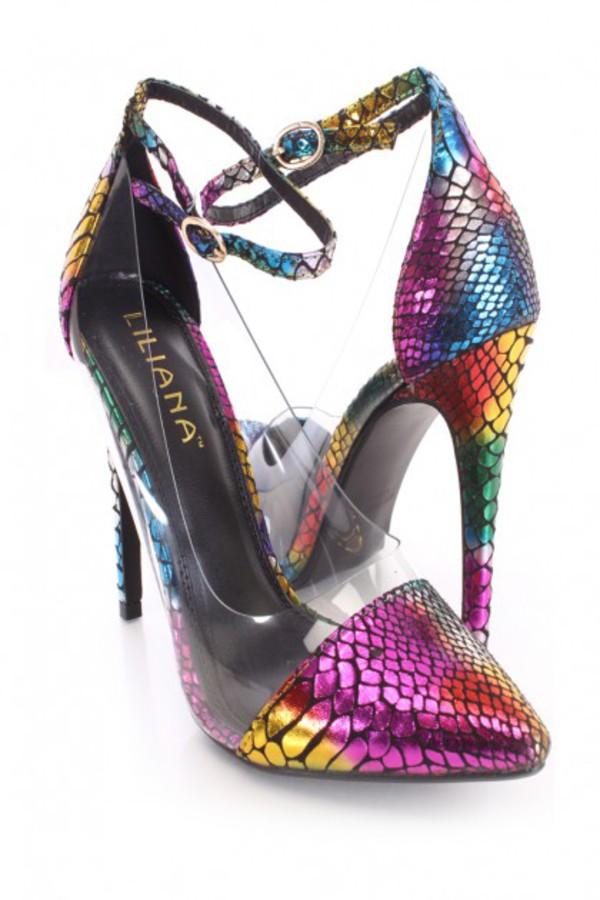 shoes multi clear single sole heels metallic fabric single sole heels metallic fabric shoes snake print multicolor
