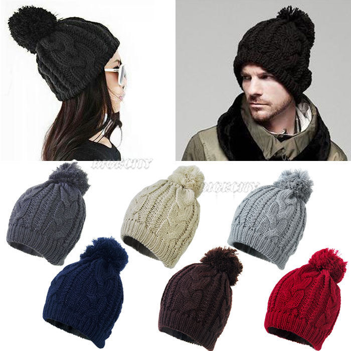 Unisex Mens Womens Winter Warm Twist Knitted Oversized Bobble ... 1af411591e4